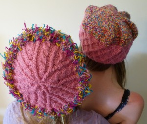 Meg and Sarah wearing hats featuring handspun