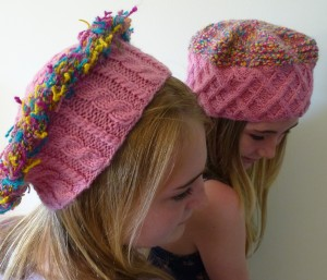 Hats made with handspun and commercial dk yarn