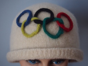 Olympic hat, felted knitting with crocheted rings