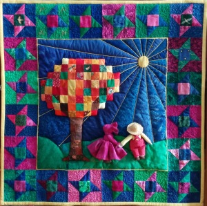 Sunbonnet Sue and Overall Sam enjoy a sunny fall day together surrounded by the stars of friendship