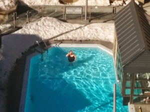 Alan took this picture of me in the pool from our hotel room window..note the snow surround